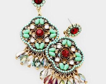 Assorted Colors - Stone Embellished Clover Bead Fringe Dangle Earrings