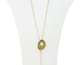 Semi Precious Stone Beaded Tassel Lariat Necklace Natural