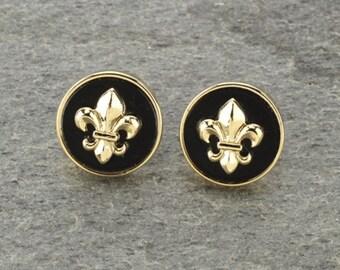 Fleur De Lis Earrings Gold/Black