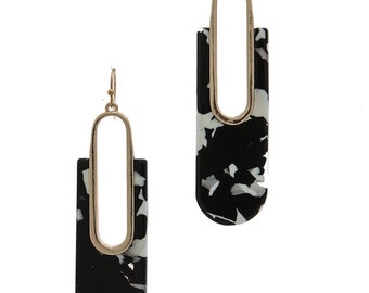 Assorted Colors - Rounded Rectangular Shaped Acetate Dangle Earrings