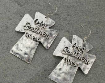 Hot Southern Mess Cross Earrings