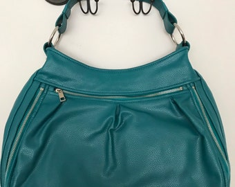 B Makowsky Teal Leather Shoulder Laptop Purse with Silver zips and Accents 3f4dfc94bd