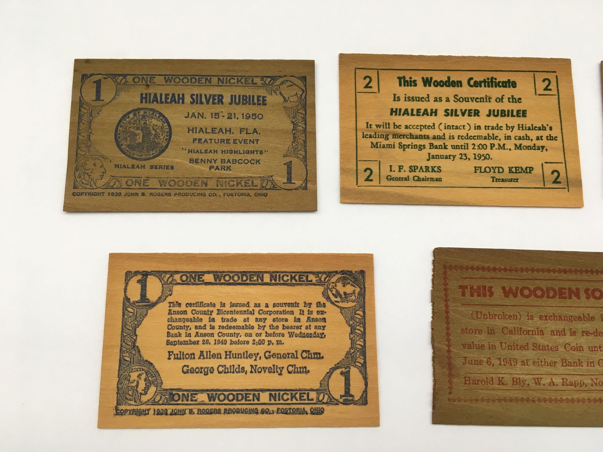 Vintage Assorted Wooden Certificates From The 1940s And 50s