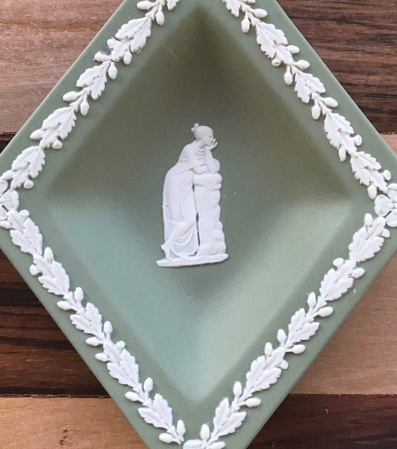 Jasper Ware Sage Wedgewood Set of Four Diamond Shaped Vintage TrinketPin Dish  English Romantic