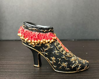 Black red gold ankle boot miniature