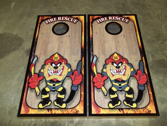 Astounding Taz Fire Rescue Corn Hole Set Bean Bag Toss Game With Score Plate Ocoug Best Dining Table And Chair Ideas Images Ocougorg