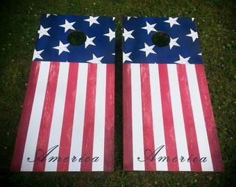 American Flag Corn Hole Boards - Bean Bag Toss Game