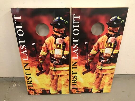 Firefighter Corn Hole Boards Bean Bag Toss Game