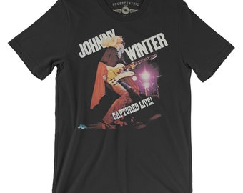 35f37003e Johnny Winter Vinyl Record T-Shirt - (Official) Lightweight Vintage Style