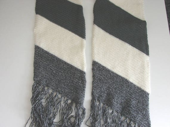 Crochet Pattern Diagonal Scarf Decorative Striped Men Scarf Etsy