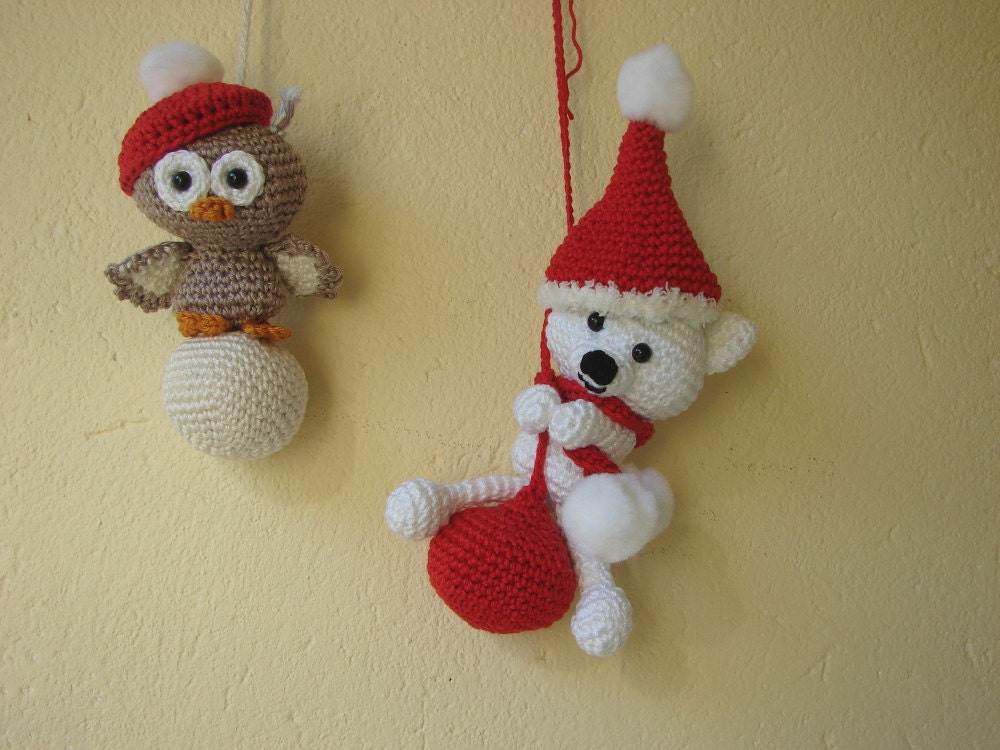 Polar Bear And Owl Ornament Crochet Pattern Ice Bear And Owl On
