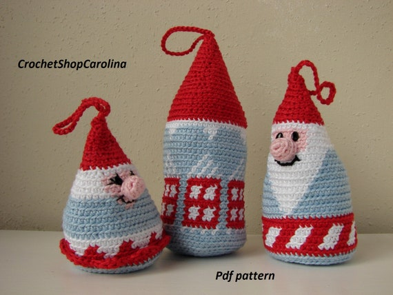 Kerstboom Hangers Haakpatroon Huisjes En Wintergnomes Etsy