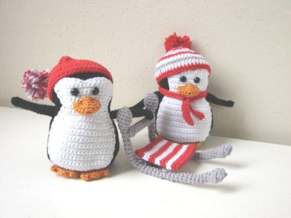 Haakpatroon Pinguins Amigurumi Dier Knuffel Pinguin Met Slee Etsy