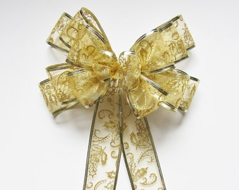 Glitter Wired Bow - Gold - Wired Bow - 14 Loops - Christmas Decoration - Wreath Bow - Party Decoration - Sheer Bow