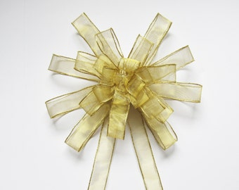Sheer Large Wired Bow - Gold - Large Wired Bow - 25 Loops - Christmas Decoration - Wreath Bow - Party Decoration