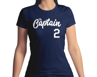 Ladies Derek Jeter Shirt T The Captain 2 Baseball Nickname Navy Crew Neck Junior Fit T-Shirt