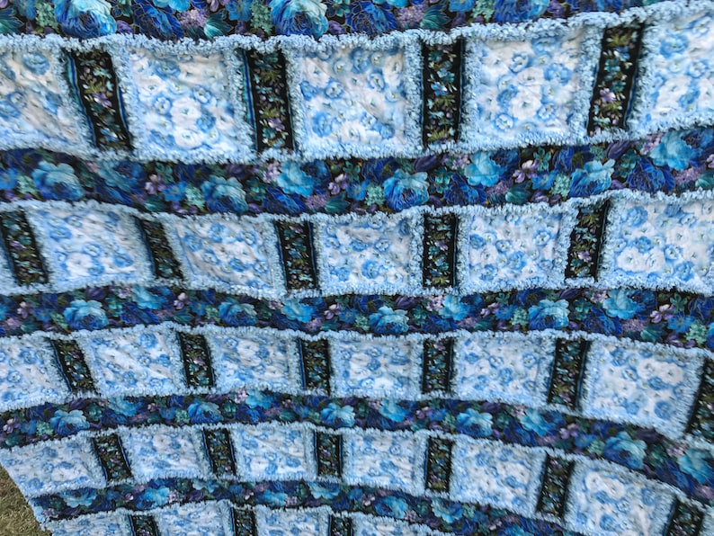 Light Blue Floral and Dark Blue Floral Handmade Window Pane Style Rag Quilt 64x84 Bedding Twin Size Throw