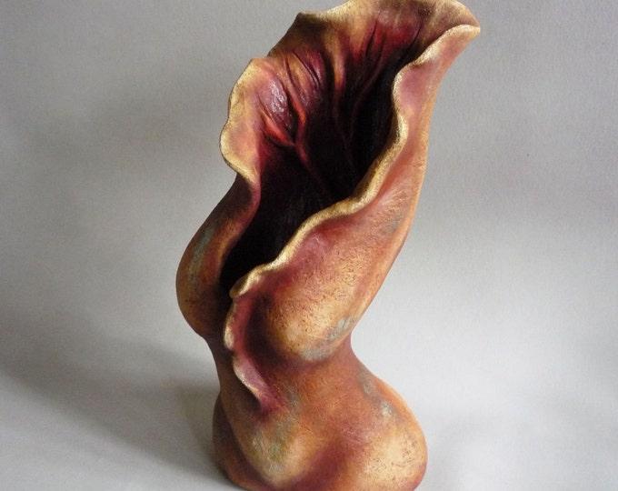Figurative fine art sculpture, abstract female sculpture, minimalist art, Chrysalis woman, sensual woman, womb awakening, transformation