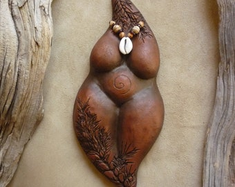 Pachamama goddess sculpture, clay earth mother figurine, wall or altar, doula midwife gift, sacred pregnancy, Divine Mother