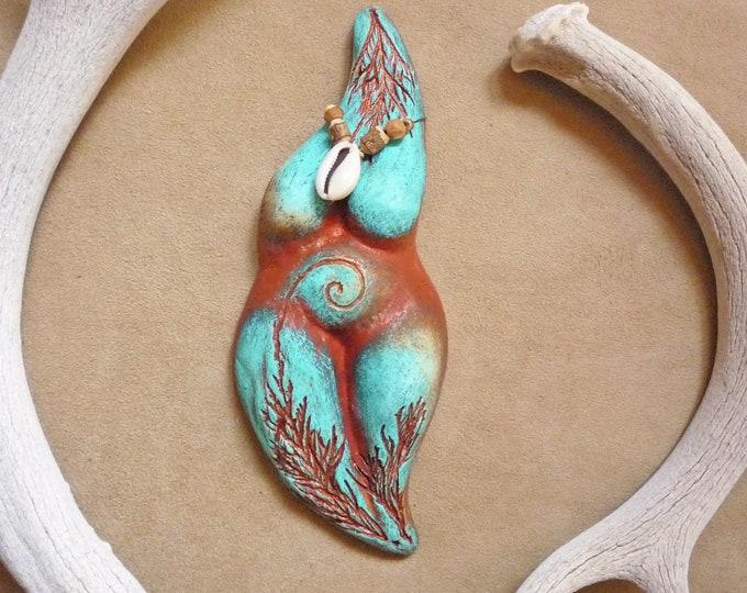 Earth Mother Goddess statue + fertility goddess birth altar, *Turquoise Dreamer*, sacred pregnancy