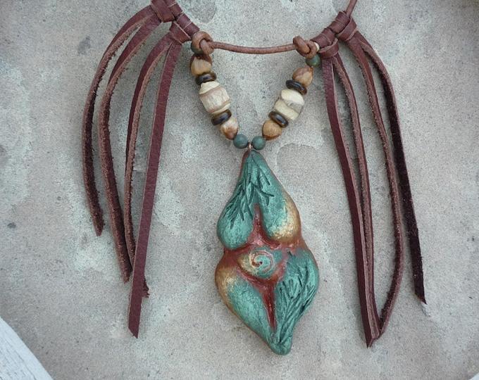 Goddess necklace, earth elements ~ clay, deerskin, rustic wood, Navajo ghost beads, juniper berries, red creek jasper