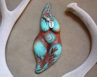 Earth Mother Goddess statue + fertility goddess birth altar, *Turquoise Dreamer*
