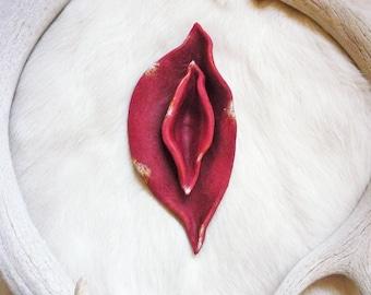 Sacred yoni flower sculpture + goddess altar art + womb of creation