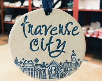 Ornament, Michigan Town Ornament, Wine Gift Tag, Keepsake Gift Tags and Favors, Traverse City Ornament