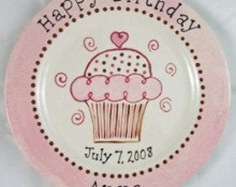 Personalized Birthday Plates, Cupcake Plates, Hand Painted Pottery, Pink Cupcake Plate, Birthday Plates for Kids