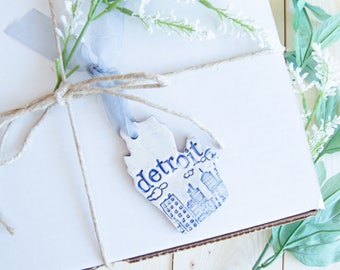 Ornament, Detroit Michigan State Ornament, Hand Made and Stamped Detroit Gift, Wine Gift Tag