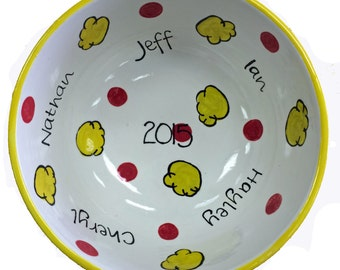 Bowls, Personalized Family Popcorn Bowl, Hand Painted Pottery, Family Movie Night,