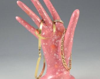 Ceramic Hand Jewelry Holder Peppermint Glazed Jewelry Tree Ring Holder Stoneware Handmade Great Bridesmaid's Gift!