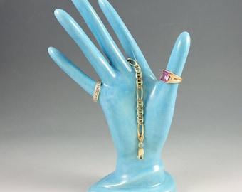 Ceramic Hand Ring Baby Blue Glazed Holder Ceramic Jewelry Tree Hand Glove Mold Great Bridesmaid Gifts!