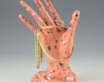 Ceramic Coral Glazed Hand Ring Holder Jewelry Tree Hand Glove Mold Great Bridesmaid Gifts