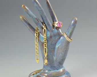 Ceramic Jewelry Hand Ring Holder Stoneware Pearl Green Glazed Jewelry Tree Hand Glove Mold ~ Perfect Bridesmaid Gift!