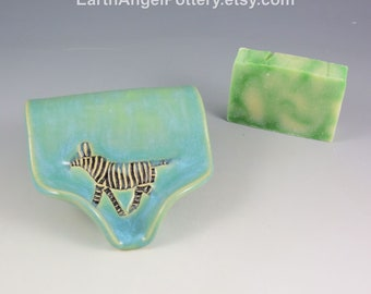 Ceramic Soap Dish ~ Soap Saver ~ Soap Dish Pottery ~ ZEBRA Textured Self Draining Soap Dish ~ Handmade Soap Dish ~ In Stock