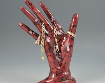 Ceramic Hand Ring Cranberry Frost Ring Holder Ceramic Jewelry Tree Hand Glove Mold