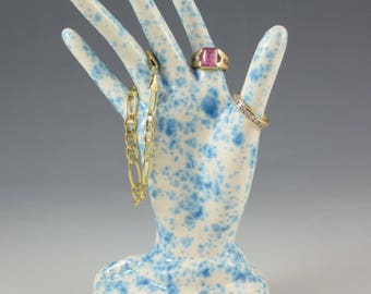 Ceramic Spotted Blue Glazed Hand Ring Holder Jewelry Tree Hand Glove Mold Great Gift ~ READY TO SHIP