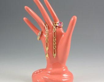 Ceramic Hand Ring Pink Jewelry Holder Ceramic Jewelry Tree Hand Glove Mold Great Gifts!