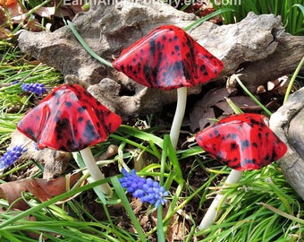 Ceramic Red with black spot Mushrooms, Set of 3, Handmade Ceramic Magical, Decorative Mushrooms Fairy Fantasy Gnome
