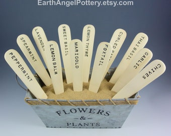 12 Ceramic HERB Garden Markers Plant Markers ~ Set of 12 ~ Handmade Herb Stakes ~ Includes Burlap Bag ~ Great Gardener Gift ~ READY to SHIP