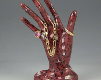 Ceramic Hand Ring Cranberry Frost Ring Holder Ceramic Jewelry Tree Hand Glove Mold Great Bridesmaid Gifts!