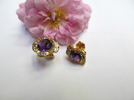 Vintage Amethyst and Diamond Earrings - image 1