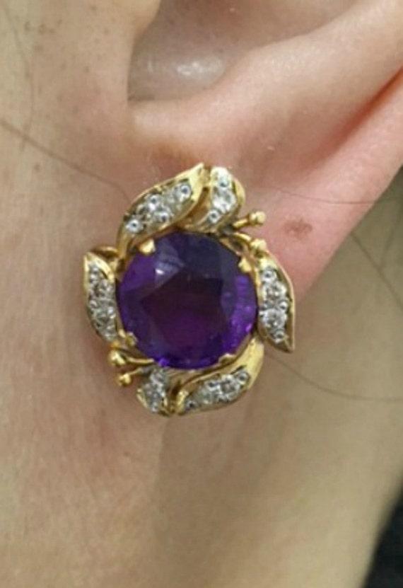 Vintage Amethyst and Diamond Earrings - image 2