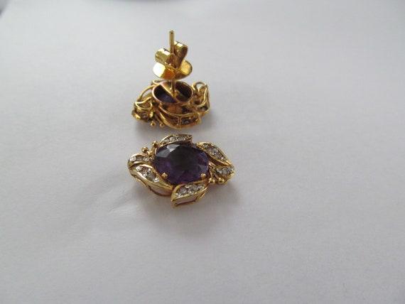 Vintage Amethyst and Diamond Earrings - image 5