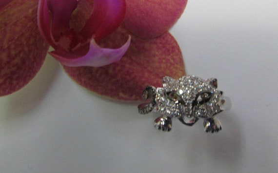 Cute Panther Diamond Ring