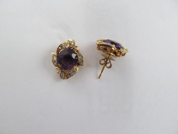 Vintage Amethyst and Diamond Earrings - image 3