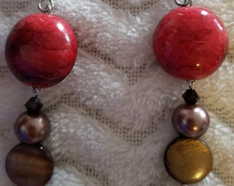 Red earrings with Tiger Eye beads