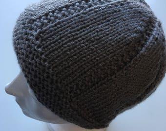 1c68765eaba HandKnit medium gray teen  woman s Stocking Cap Watchman s Hat