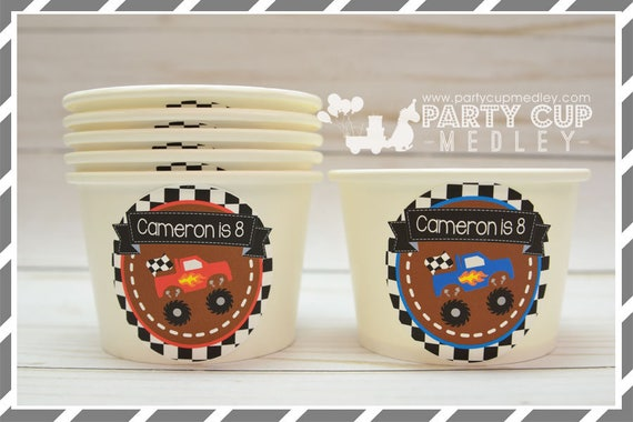 Monster Truck Birthday Party Ice Cream Cups Set Of 10 Or 20 By